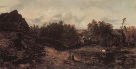 На фото изображен пример пейзажного мотива у барбизонцев