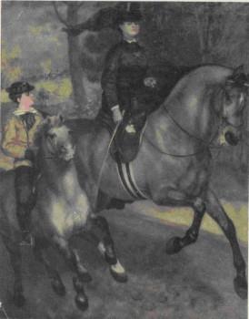 О. Ренуар. Всадники в Булонском лесу. 1873 г., Показана в «Салоне отвергнутых» в 1873 г, Кунстхалле, Гамбург
