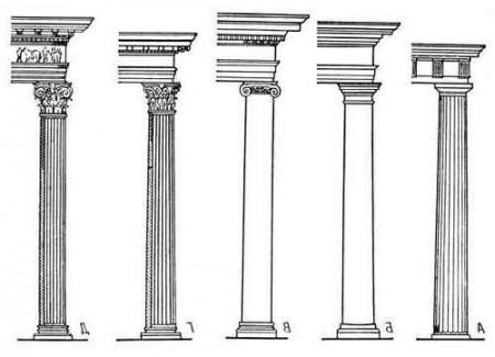 На картинке изображены примеры архитектурных ордеров эпохи Возрождения