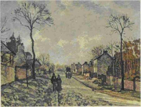 К. Писсарро. Улица в Лувесьенне. 1872