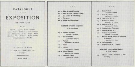 Титульный лист и разворот страниц каталога второй выставки импрессионистов